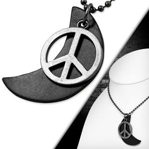 Fashion Peace Sign Half-Moon Crescent Black